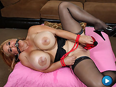 Dirty blonde with HUGE boobs fucks her dirty pussy! [3 movies]