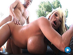 Whore has her huge tits covered in soap suds and big dick cum [4 movies]