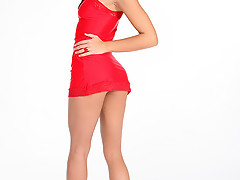 Tall and young brunette in red dress getting naked [15 pictures]