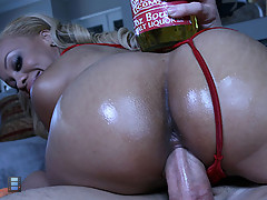Big Booty Melrose and Rachel strip together and fuck outside [4 movies]