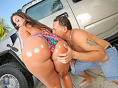 incredible Vanessa and her amaing huge ass gets licked and pounded hard in these hot out door car wash videos [4 movies]