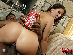 Hot brunette Maria fucks a black guy outside [4 movies]