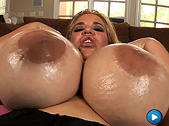 Crystal fuck her Huge boobs with a giant red dildo! [4 movies]